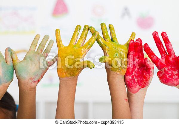coberto, mãos, crianças, pintura - csp4393415