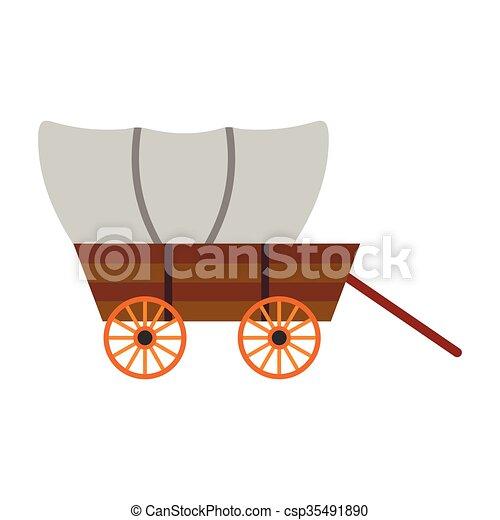 coberto, ocidental, vagão, ícone - csp35491890