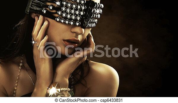 coberto, olhos, retrato mulher - csp6433831