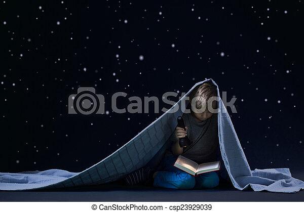 cobertor, leitura, sob - csp23929039