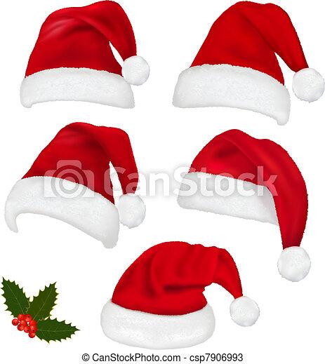 cobrança, chapéus, vermelho, santa - csp7906993