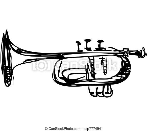 Un dibujo de un instrumento musical de corneta de cobre - csp7774941