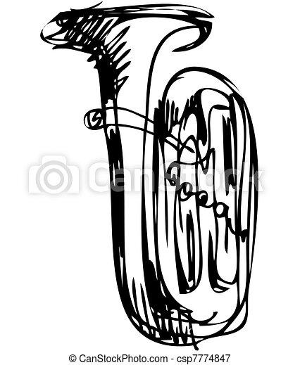 cobre, esboço, musical, tubo, instrumento - csp7774847