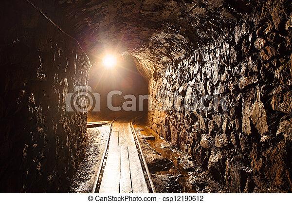 cobre, túnel, -, mina, ouro, histórico, caminho, prata - csp12190612