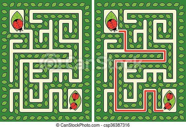 Coccinella Labirinto Coccinella Bambini Soluzione Facile