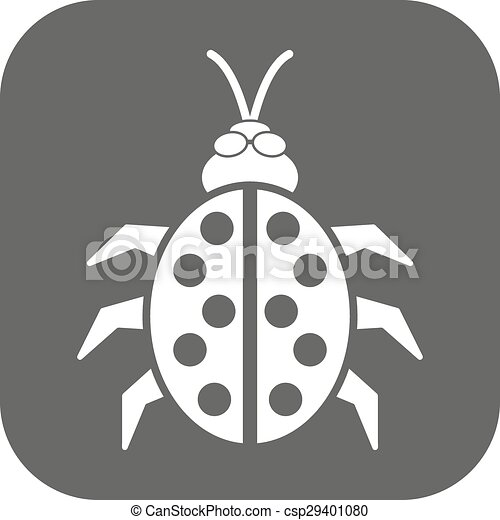 Coccinelle Symbole coccinelle, plat, coccinelle, symbole., bogue, coléoptère, icon