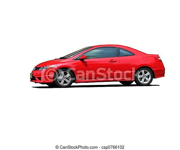 coche, aislado, rojo, deportes - csp0766102