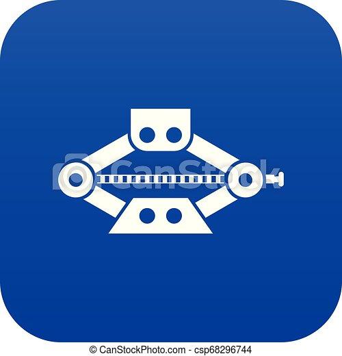 Un auto de tijeras rojas Jack icono azul digital - csp68296744