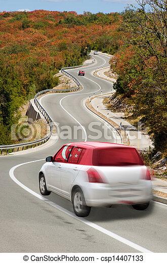Carro en camino en bandera nacional de colores singapore - csp14407133