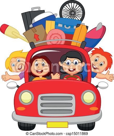 Coche Caricatura Familia Viajar