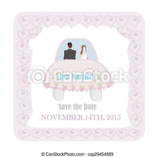 Recién casado, auto de boda - csp29454889