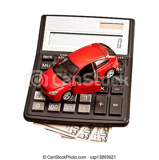 Coche de juguete y calculadora sobre blanco. Concepto para comprar, alquilar, seguro, combustible, servicio y reparación - csp13893621
