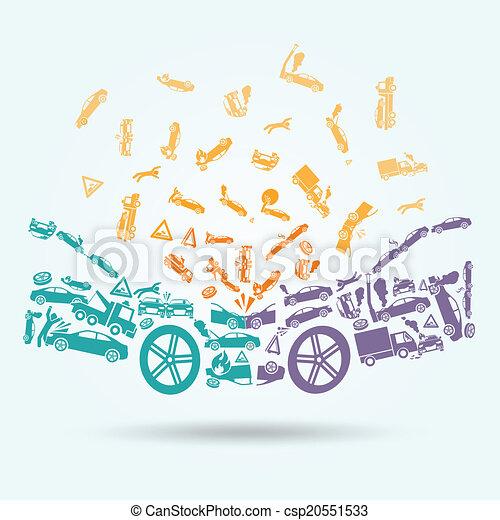 El concepto de los iconos del accidente de coche - csp20551533