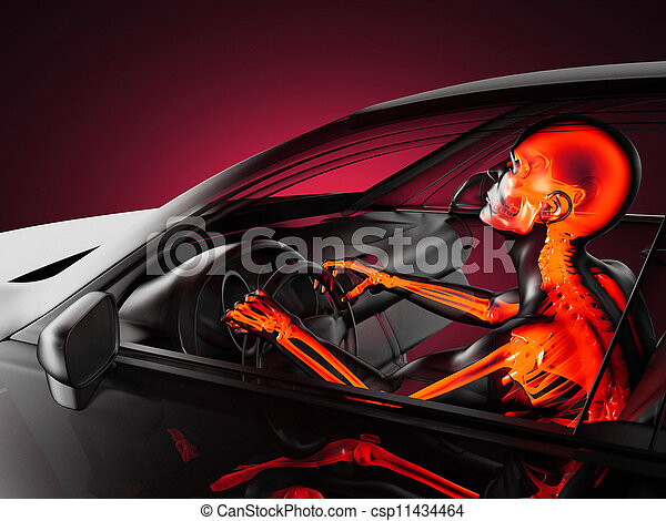 Concepto de coche transparente con conductor - csp11434464