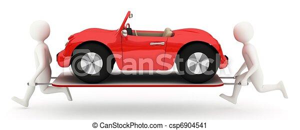 Hombres blancos corriendo con coche en camilla - csp6904541