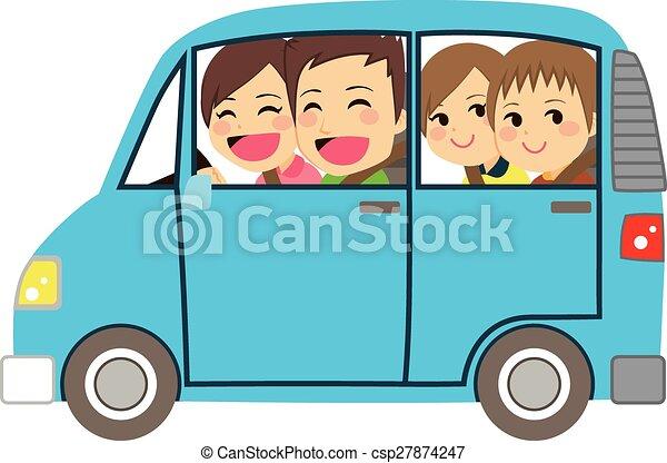 coche, familia feliz, minivan - csp27874247