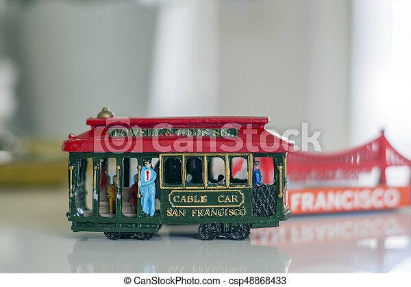 coche, francisco, san, cable, miniatura - csp48868433