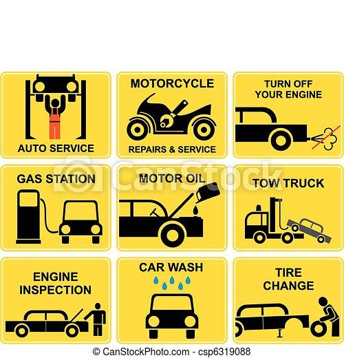 Los iconos del auto, el servicio de autos - csp6319088