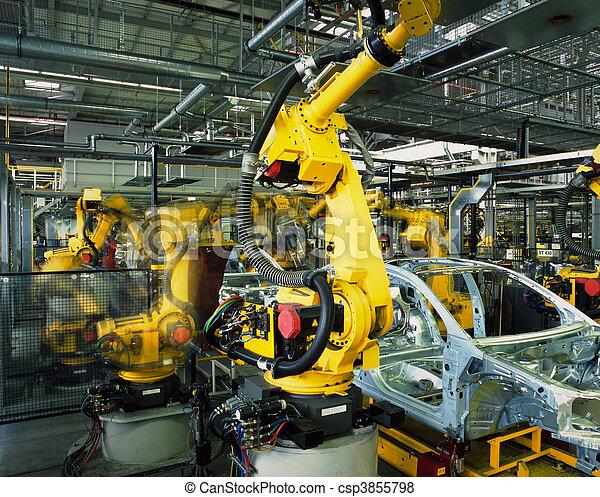 coche, línea, producción - csp3855798