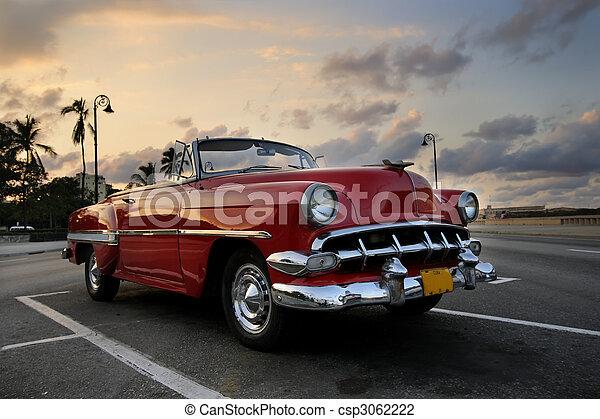 coche, la habana, ocaso, rojo - csp3062222