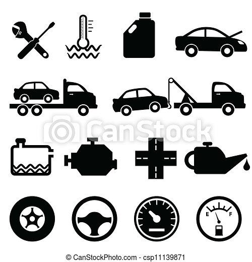 Carro, mecánico y iconos de mantenimiento - csp11139871