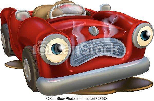 Un coche caricaturista necesita reparaciones - csp25797893