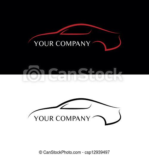 coche, negro rojo, logotipos - csp12939497