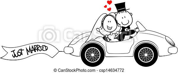 Novia y novio en coche aislados - csp14634772