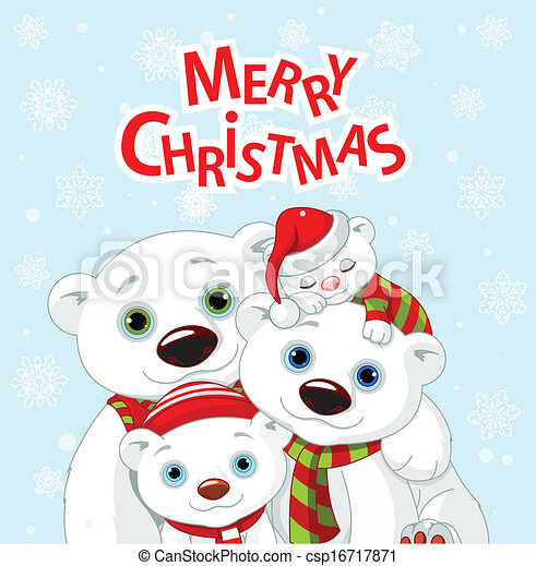 El coche de la familia del oso de Navidad - csp16717871