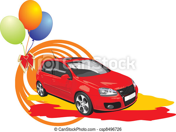 Un auto rojo con pelotas coloridas - csp8496726