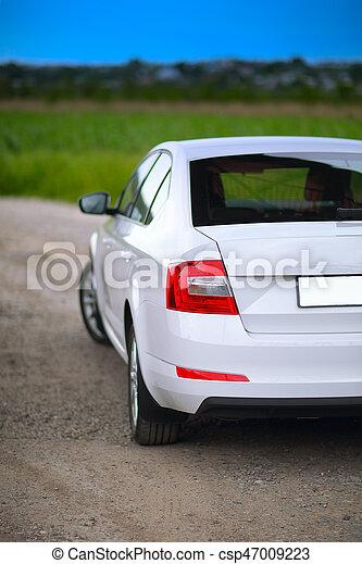 coche, rear-side, vista - csp47009223