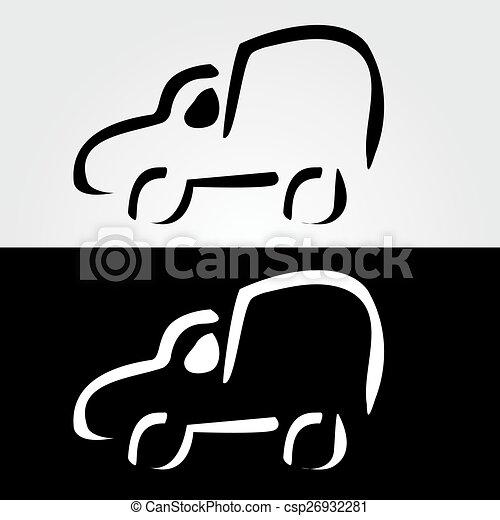 Coche con líneas abstractas diseño de logo - csp26932281