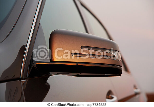 coche, vista, espejo de parte trasera - csp7734528