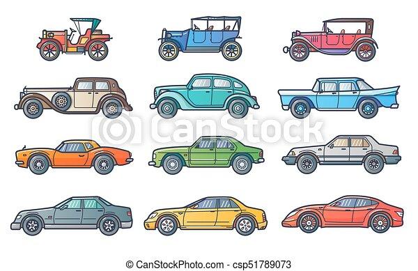 coches historia plano evoluci n coche ilustraci n coche retro vendimia moderno l nea. Black Bedroom Furniture Sets. Home Design Ideas