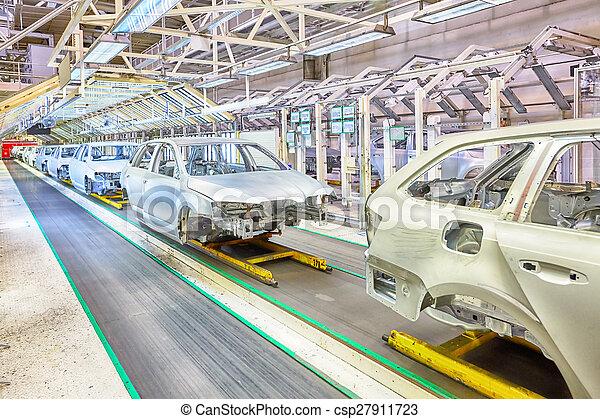 coches, planta, fila, coche - csp27911723