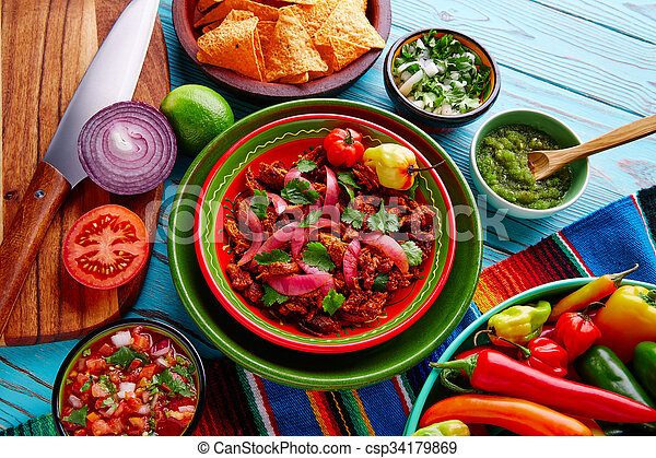 Cochinita Pibil Mexican food with red onion - csp34179869
