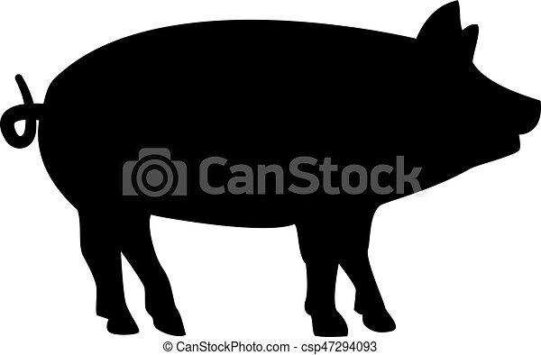 cochon, silhouette - csp47294093