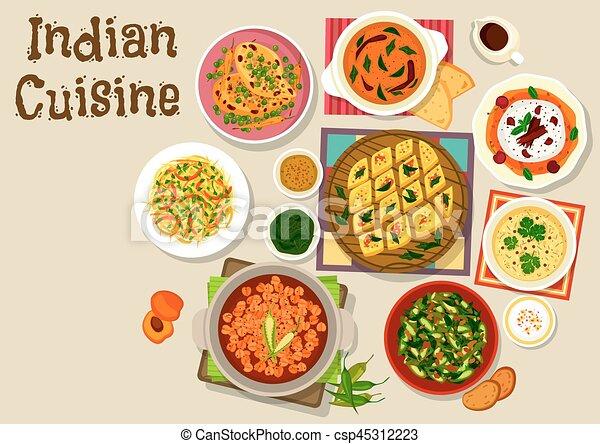 Cocina, alimento, menú, cena, indio, diseño, icono. Curry ...