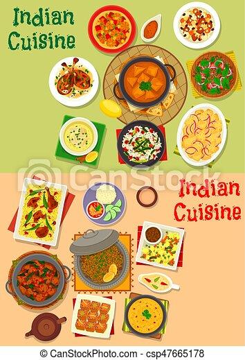 Cocina, conjunto, platos, menú, cena, indio, diseño, icono ...