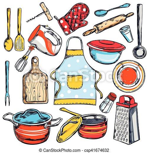 Cocina de casa conjunto elementos decorativo estilo for Elementos de cocina para chef