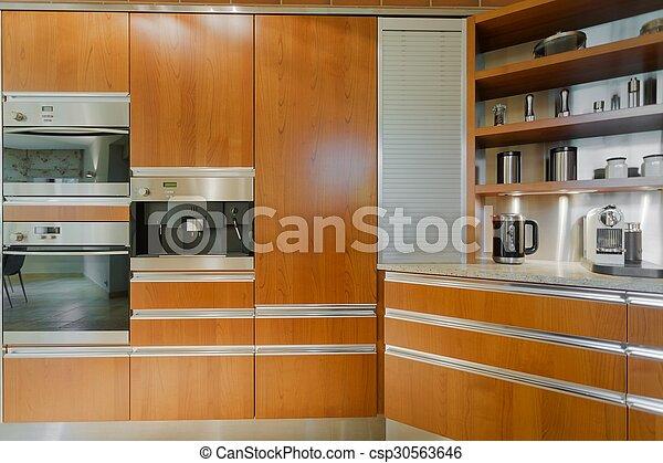 Cocina, diseño, muebles contemporáneos. De madera, contemporáneo ...