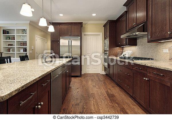 Cocina con vista al cuarto de la familia - csp3442739
