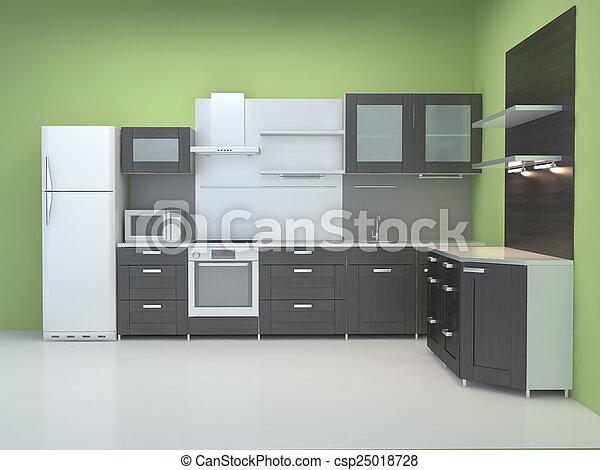 Muebles de cocina integrales en el backgroun blanco.