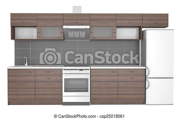 Cocina, integral, muebles. Integral, 3d, fondo., blanco, muebles ...