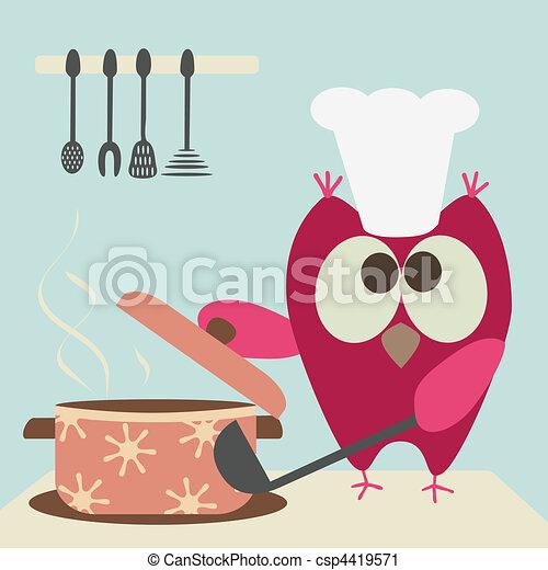 Bonita lechuza con un cerdo cocinando en el - csp4419571