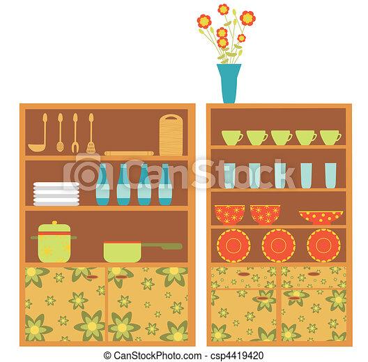 Moderno, cocina, muebles. Estilo, moderno, icons., cómodo, interior ...