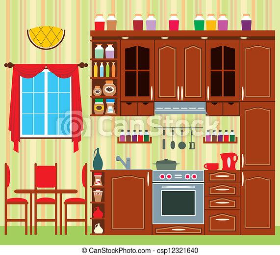 Cocina, muebles. Imagen, chairs., tabla, cocina, ventana.