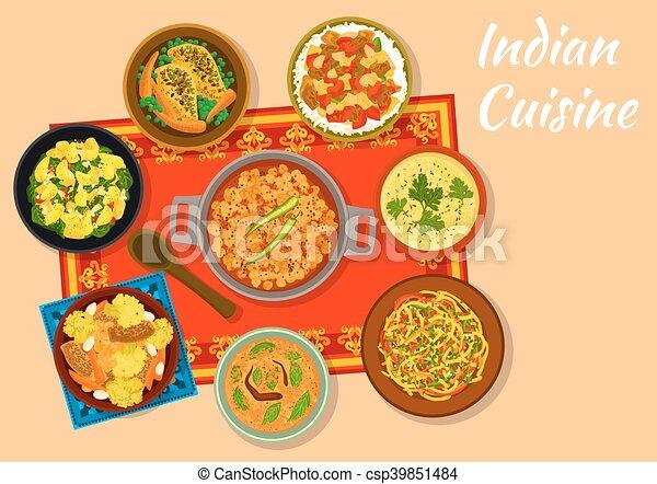 Cocina, picante, platos, menú, almuerzo, indio, diseño.... vector ...