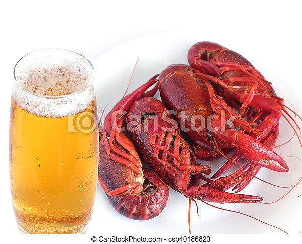 Un cangrejo cocinado aislado en blanco - csp40186823