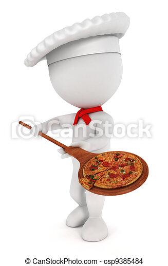 3D los blancos cocinan pizza - csp9385484